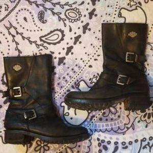 Harley Davidson Motorcycle black leather boots 7
